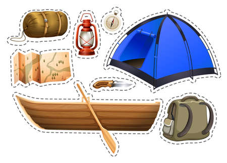 rowboat: Sticker set of camping objects illustration
