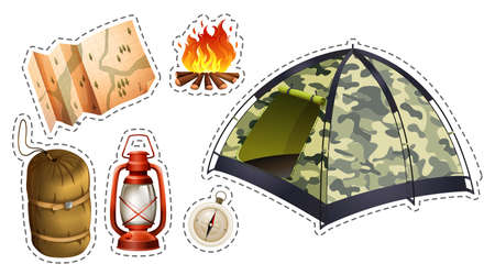 Sticker set of camping equipment illustration