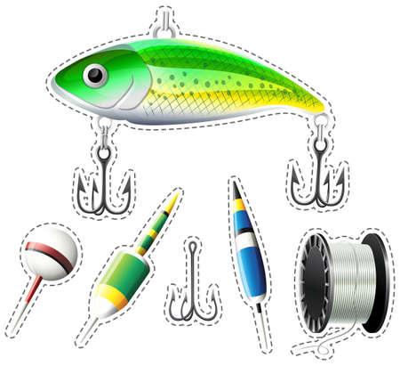 Sticker set of fishing equipment illustration Illustration
