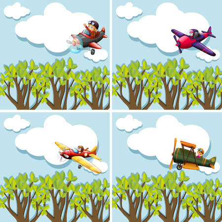 pilotos aviadores: Scenes with pilots flying airplane illustration Vectores