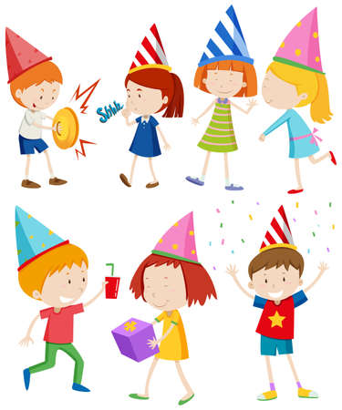 children party: Children doing different things at party illustration
