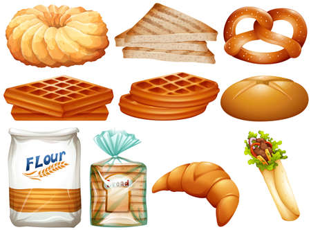 Different kinds of bread and desserts illustration