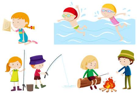 Kids doing different activities illustration Ilustração