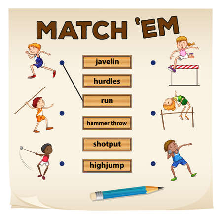 matching: Matching game for sports illustration