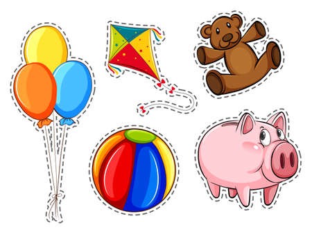 Sticker set with different toys illustration