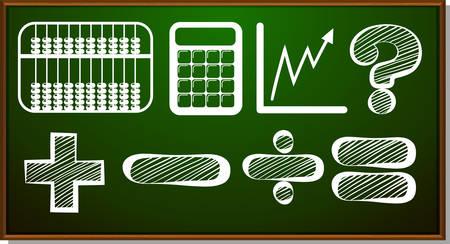 math symbols: Math symbols on blackboard illustration