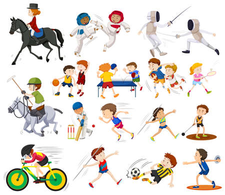 People doing different kinds of sports illustration