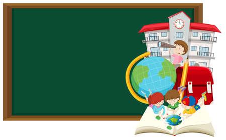Blackboard and children learning at school illustration