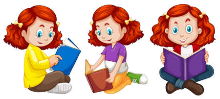 many: Three actions of girl reading book illustration Illustration