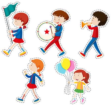 Sticker set with children walking illustration