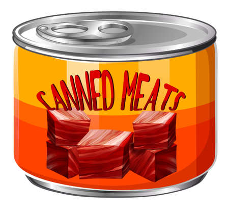 Meats in aluminum can illustration
