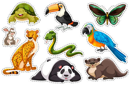 group picture: Sticker set of wild animals illustration