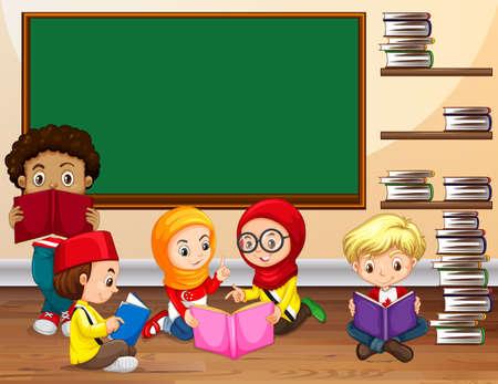 reading a book: Children reading book in classroom illustration Illustration