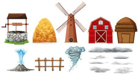 Set of farm elements and weathers illustration