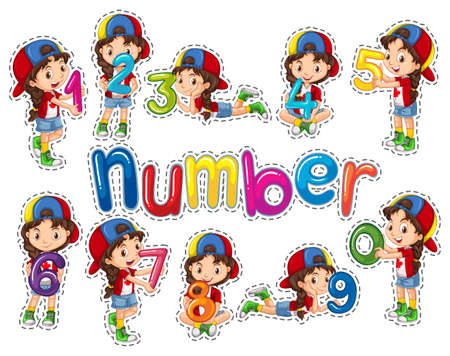 0 6: Sticker set with girl and numbers illustration