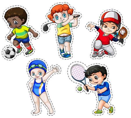 teen golf: Conjunto de etiqueta de los niños que juegan el ejemplo deportes Vectores