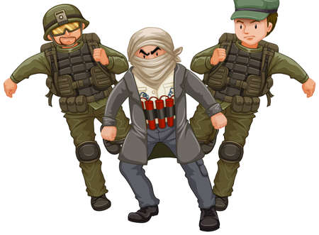 dangerous man: Two soilders and man with bomb illustration