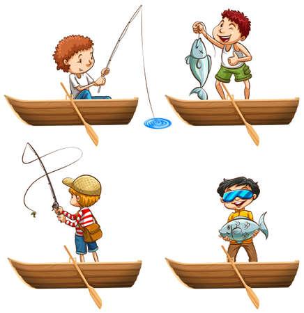 rowboat: People in rowboat fishing illustration