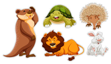 wildlife: Sticker set of many wildlife illustration