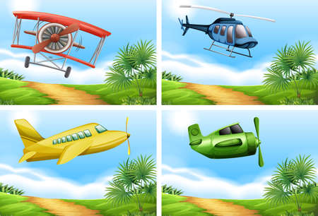 rural scene: Scenes with airplanes in the sky illustration