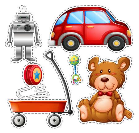 Sticker set of different toys illustration