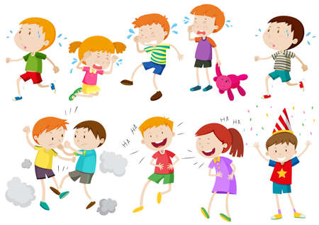 girl fight: Set of children crying and fighting illustration