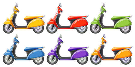 Scooters in six different colors illustration Illustration