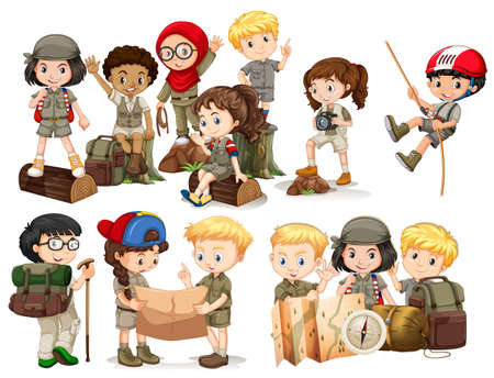camping: Boys and girls in camping outfit illustration Illustration