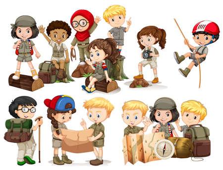 Les garçons et les filles dans le camping outfit illustration