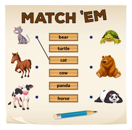 matching: Matching game with cute animals illustration