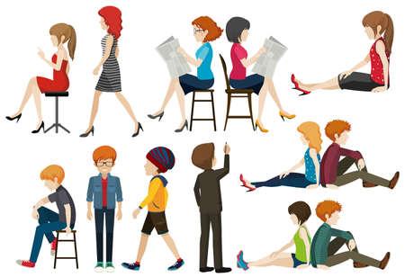gente sentada: Las personas que realizan diferentes acciones ilustración Vectores