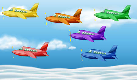 Six airplanes flying in the sky illustration Illustration