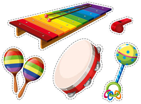 musical instrument: Sticker set of musical instrument illustration