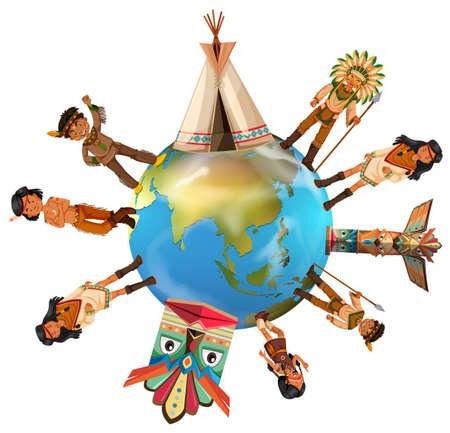 tepee: Native american indians around the world illustration