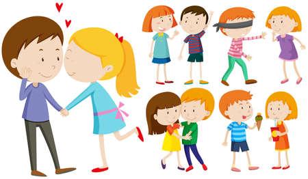 pareja comiendo: parejas amante abrazo y beso la ilustración Vectores
