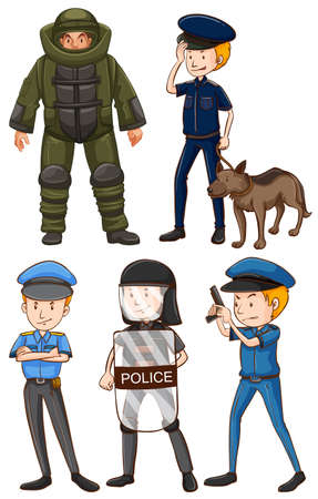 Policeman in different uniforms illustration