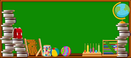 text books: Blackboard and different school objects illustration