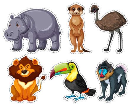 emu: Conjunto de adhesivo con muchos animales ilustración