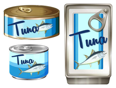 tuna fish: Tuna fish in three different packages illustration Illustration