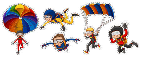 sky diving: Sticker set with people playing air sports illustration