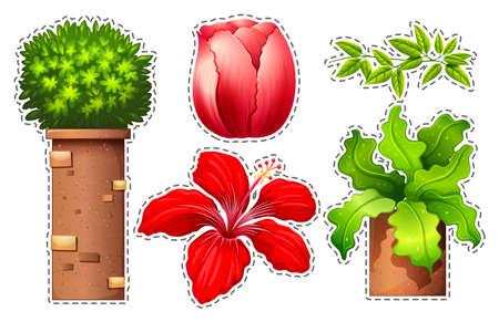 Sticker set of flowers and bush illustration Illustration