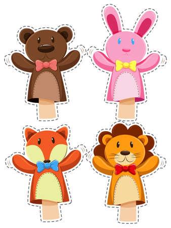 Sticker set with hand puppets illustration Illustration