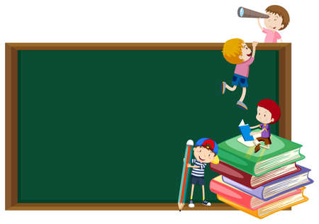 bulletin: Background template with kids and blackboard illustration