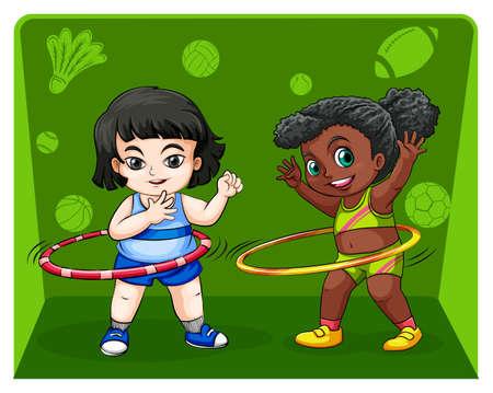 hulahoop: Two girls doing hulahoops illustration
