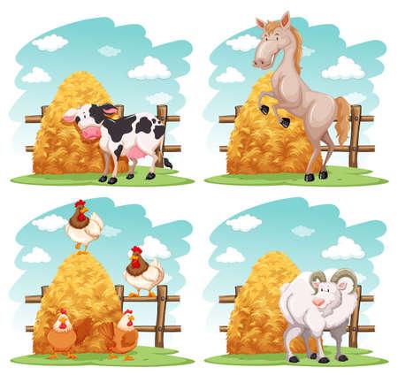 Farm animals in the farm illustration Illustration