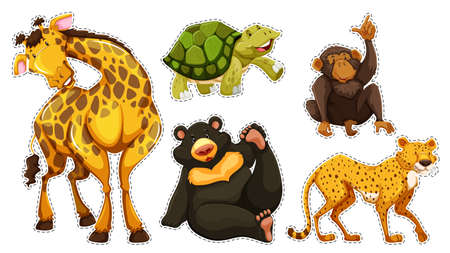 wildlife: Sticker set with many wildlife illustration