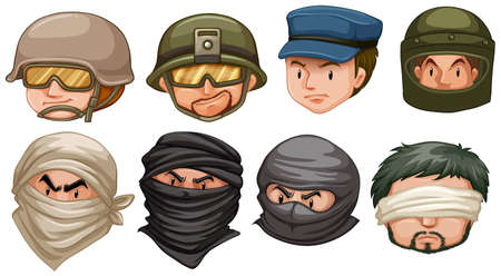 Faces of terrorists and soldiers illustration