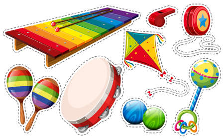 Sticker set of musical instrument and toys illustration