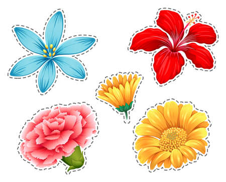 Sticker set with different types of flowers illustration Illustration
