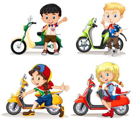 motorcycle girl: Boys and girls riding scooters illustration